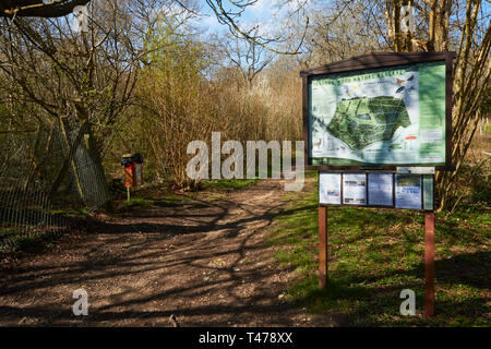 Map and sign along the woodland path in the spring sunshine, Selsdon Woods, Surrey, England, United Kingdom, Europe - Stock Photo