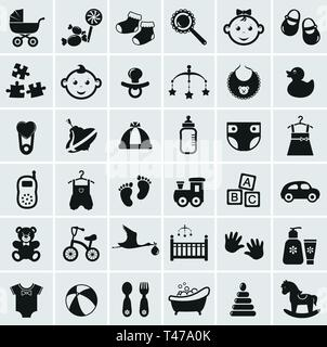 Collection of 25 baby icons. Vector illustration. - Stock Photo