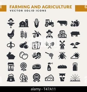 Farming and agriculture icon set. Vector isolated farm and countryside symbols: cereal crop, fruit, vegetables, dairy products, animals, plants, tools - Stock Photo