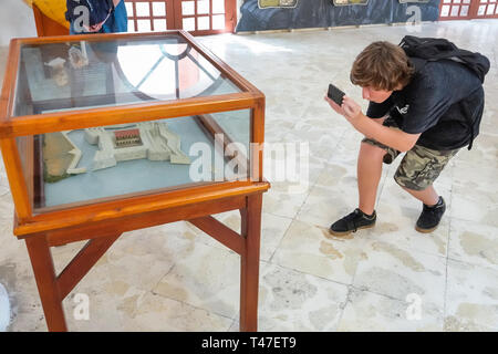 Cartagena Colombia Old Walled City Center centre Centro Museo Naval del Caribe Caribbean naval museum interpretive exhibit scale model display case bo - Stock Photo
