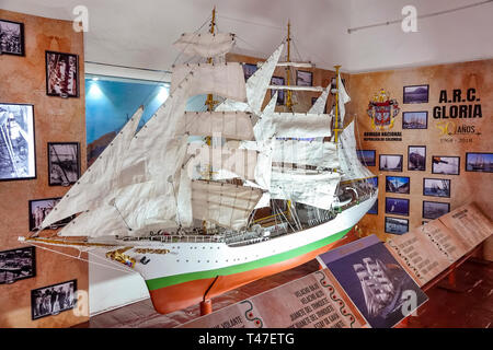 Cartagena Colombia Old Walled City Center centre Centro Museo Naval del Caribe Caribbean naval museum scale model ARC Gloria three-masted barque train - Stock Photo