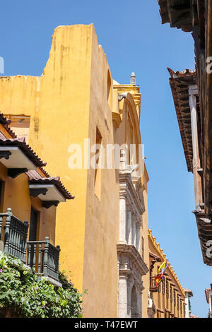 Cartagena Colombia Old Walled City Center centre Centro buildings colonial architecture - Stock Photo