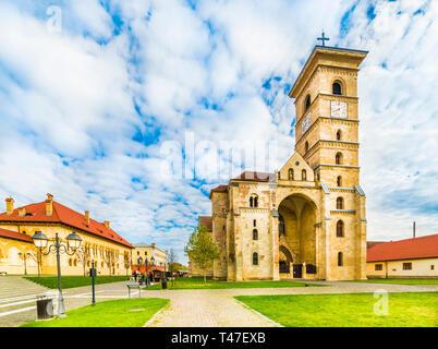 St Michael's Cathedral  in Alba Iulia fortress, Transylvania, Romania - Stock Photo