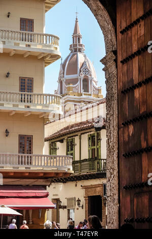 Cartagena Colombia Old Walled City Center centre Centro Catedral Basilica Metropolitana de Santa Catalina de Alejandria Metropolitan Cathedral Basilic - Stock Photo