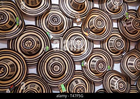 Colombia, Cartagena, Old Walled City Center centre, Centro, Artesanias de Colombia, folk art, handicrafts, store, sombrero vueltiao, traditional hat,