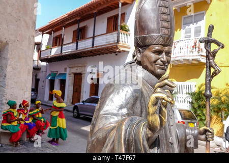 Cartagena Colombia Old Walled City Center centre Centro Pope John Paul II visit commemorative monument statue - Stock Photo