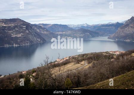Lake Iseo seen from Monte Isola island, Lombardy, Italy - Stock Photo