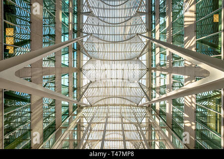 TORONTO, ONTARIO, July 6, 2017: Interior of the the multi level Eaton Centre, the largest mall in Toronto, July 9. 2017 in Toronto, Ontario Canada - Stock Photo