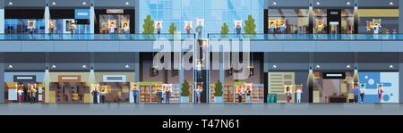 retail store visitors identification facial recognition concept modern shopping mall interior security camera surveillance cctv system horizontal - Stock Photo