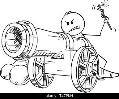 Cartoon stick figure drawing conceptual illustration of angry man or businessman targeting with antique cannon ready to fire. - Stock Photo