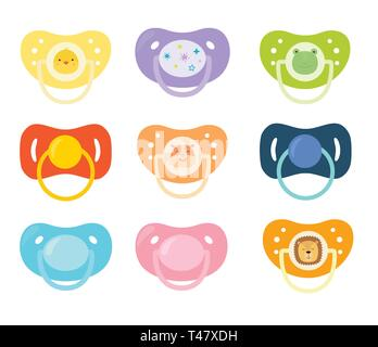 Set of children s pacifiers. Baby care equipment. Vector illustration. - Stock Photo