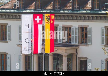 The Geneva Hotel School (EHG) is a Swiss specialised college dedicated to hotel and restaurant management, located at 12 avenue de la Paix in Geneva - Stock Photo