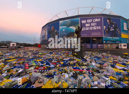 Tributes to Cardiff City new signing Emiliano Sala at the Cardiff City stadium in Cardiff, Wales, UK. Emiliano Sala was one of two people who died aft - Stock Photo