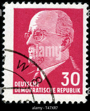 Postage stamp from East Germany (DDR)  in the Chairman of the State Council Walter Ulbricht series issued in 1963 - Stock Photo