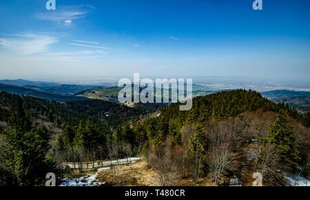 Schwarzwald Panorama mit Blick auf Freiburg vom Schauinslaand wunderbare Aussicht auf die Vogesen in Frankreich