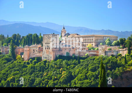 Amazing view of Alhambra palace complex in Granada, Spain taken on a sunny day. UNESCO World Heritage Site, significant sample of Islamic architecture - Stock Photo