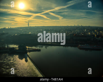 sunny day drone prague view sky clouds - Stock Photo