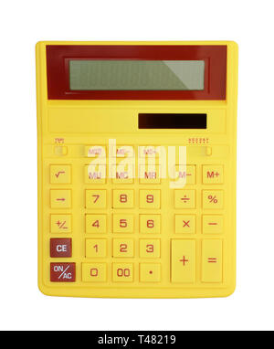 Top view of yellow calculator Isolated on white background - Stock Photo