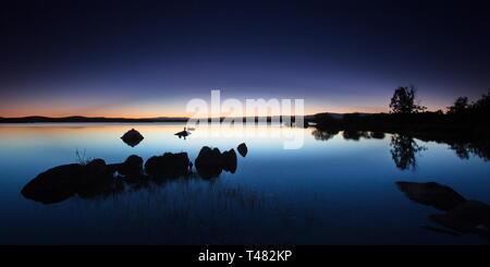 Blue hour in the Villardeciervos reservoir (Zamora, Spain). - Stock Photo