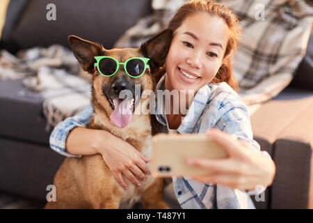 Funny Portrait with Dog - Stock Photo