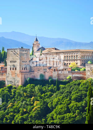 Vertical picture of beautiful Alhambra Palace complex in Granada, Spain. The amazing sample of Moorish Architecture. - Stock Photo