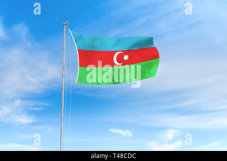 Azerbaijan flag blowing in the wind over nice blue sky background - Stock Photo