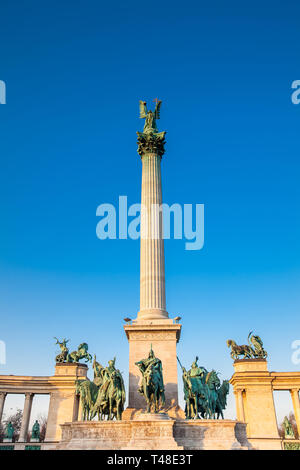 Statues of the Seven chieftains of the Magyars at the famous Heroes Square built on 1896 in Budapest - Stock Photo