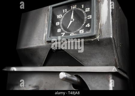 Vintage mechanical time clock. - Stock Photo