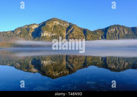 Morgennebel, Lake Sylvensteinsee, near Lenggries, Isarwinkel, Upper Bavaria, Bavaria, Germany - Stock Photo