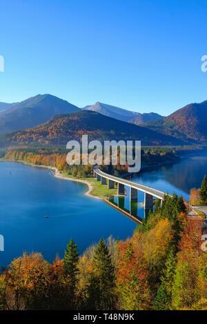 Bridge over Lake Sylvensteinsee, near Lenggries, Isarwinkel, Upper Bavaria, Bavaria, Germany - Stock Photo
