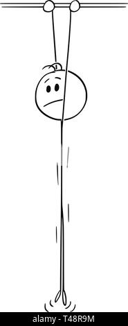 Cartoon stick figure drawing conceptual illustration of depressed man hanging high and holding a bar. - Stock Photo