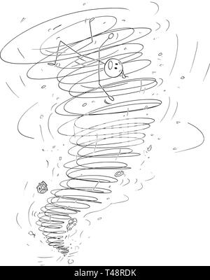 Cartoon stick figure drawing conceptual illustration of man carried away by tornado storm. - Stock Photo