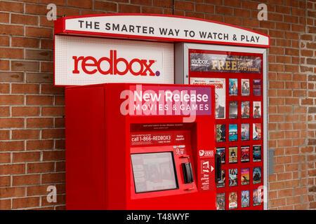 St. Marys - Circa April 2019: Redbox Retail Kiosk. Redbox Rents DVDs, Blu-Ray and Video Game Discs I - Stock Photo