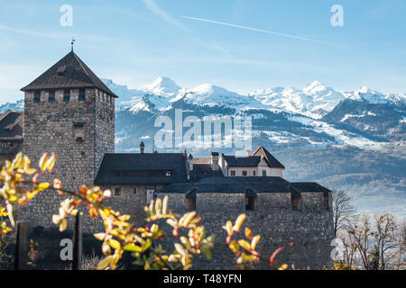 Vaduz castle, the palace and official residence of the Prince of Liechtenstein on snow mountains background - Stock Photo