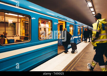 Editorial 03.26.2019 Stockholm Sweden. Passengers entering the subway at the subway station at Gärdet - Stock Photo