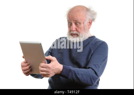 Funny shocked senior man using tablet computer isolated on white - Stock Photo
