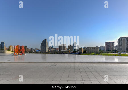 City skyline from the Heydar Aliyev Center in Baku, Azerbaijan. - Stock Photo
