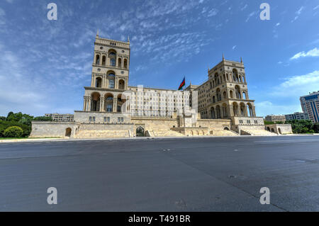 Government House and Council of Ministers of Azerbaijan, located on Freedom Square in Baku, Azerbaijan. - Stock Photo