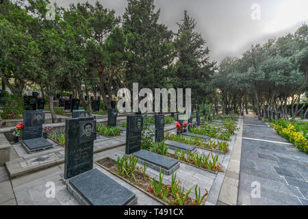 Baku, Azerbaijan - July 14, 2018. Alley of Martyrs in the Upland Park in Baku Azerbaijan. - Stock Photo