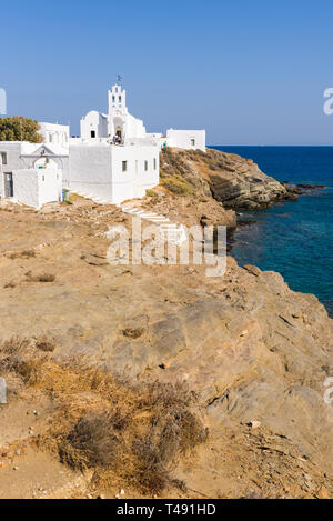 Chrisopigi Monastery located at the south-eastern end of the island of Sifnos. Cyclades, Greece - Stock Photo
