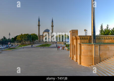 Baku, Azerbaijan - July 14, 2018: The Mosque of the Martyrs or Turkish Mosque is a mosque in Baku, Azerbaijan, near the Martyrs Lane Alley. - Stock Photo