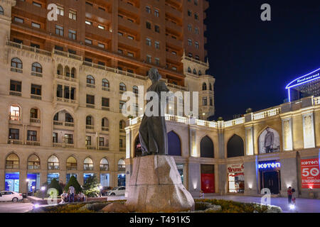Baku, Azerbaijan - July 14, 2018: Monument of national poet of Azerbaijan Imadaddin Nasimi on May 28 at the center of Baku. - Stock Photo