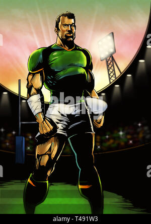 Digital illustration of a rugby player in a stadium lining up for the game in the early evening - Stock Photo