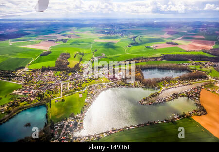Aerial view of village landscape near Paris France on sunny day - Stock Photo