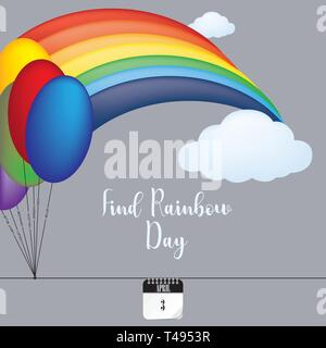 Banner for holiday Find Rainbow Day. Vector illustration - Stock Photo