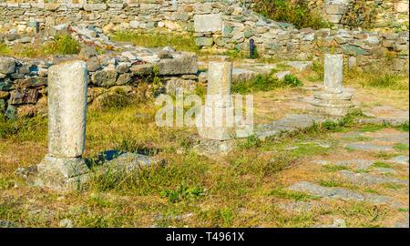 Roman ruins of Histria citadel in commune of Istria, Dobrogea landmark, Romania - Stock Photo