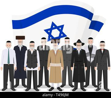 Social concept. Group senior jewish people standing together in different traditional national clothes on background with Israel flag in flat style - Stock Photo