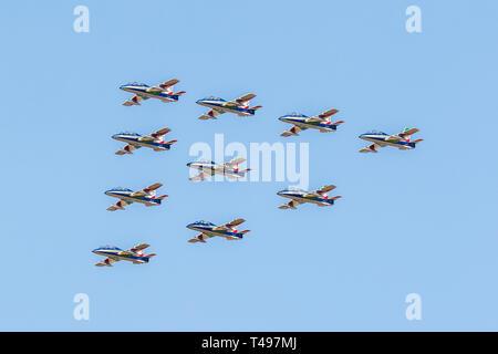 The Frecce Tricolori (Tricolour Arrows) 313 Gruppo Addestramento Acrobatico, the aerobatic display team of the Italian Aeronautica Militare - Stock Photo