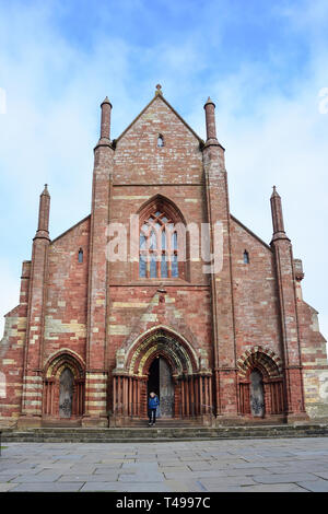 Main entrance, St Magnus Cathedral, Broad Street, Kirkwall, The Mainland, Orkney Islands, Northern Isles, Scotland, United Kingdom - Stock Photo