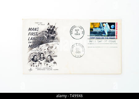 Commemorative Apollo 11 moon landing stamp from 1969 - Stock Photo